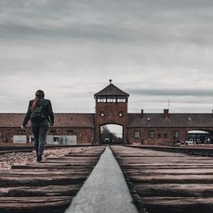 Train tracks at Auschwitz-Birkenau concentration camp in Poland