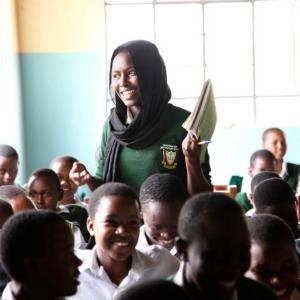 One Girl Can scholarship student, Rahma, participates in a goal-setting workshop
