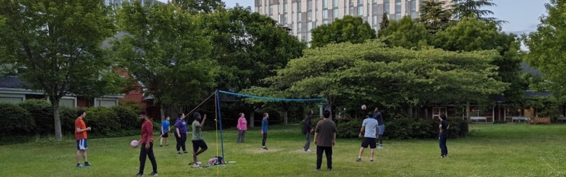 Socially distanced volleyball at UBC St. Johns College
